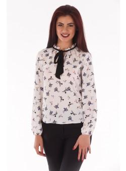 Bluza cu imprimeu floral si maneca lunga