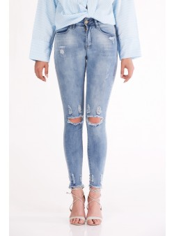 Jeans cu talie medie si rupturi