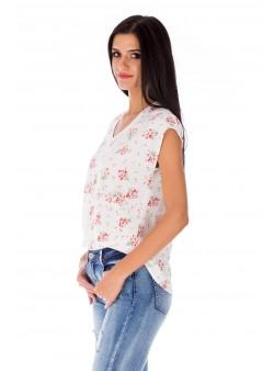 Bluză albă cu imprimeu floral