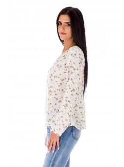 Bluză albă cu imprimeu floral/Bluză cu mânecă lungă și inserții din tricot ajurat