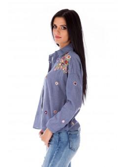 Bluză bleumarin cu broderie florală