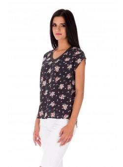Bluză neagră cu imprimeu floral