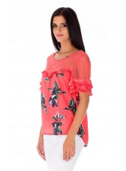Bluză roz cu franjuri și imprimeu multicolor