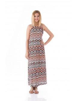 Rochie lunga cu imprimeu geometric
