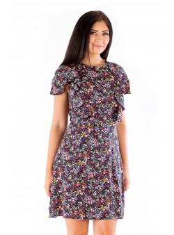 Rochie de zi multicoloră cu imprimeu floral