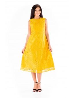 Rochie galbenă midi de seară