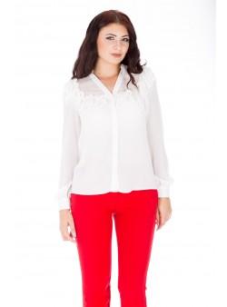 Bluză albă cu decolteu în V
