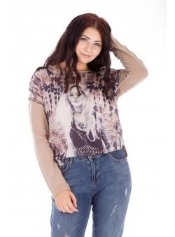 Bluză bej cu imprimeu tip siluetă feminină