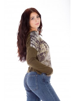 Bluză cu imprimeu tip siluetă feminină