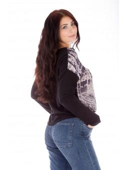 Bluză neagră cu imprimeu tip siluetă feminină