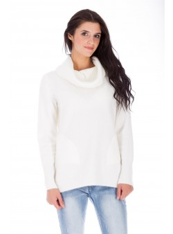 Pulover alb cu guler supradimensionat (drapat)