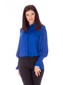 Bluză albastru-electric cu mânecă tip poet