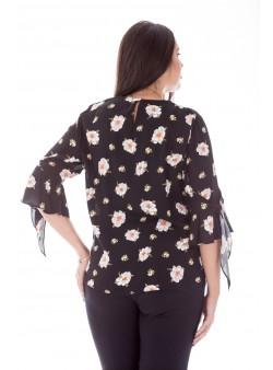 Bluza cu imprimeu floral,maneca clopot si croi lejer
