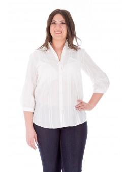 Bluză albă stil cămașă din bumbac