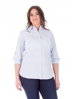 Bluză albastră cu dungi și floricele stil cămasă