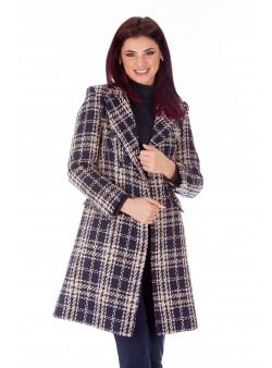 Palton bleumarin print casual