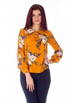 Bluza camel cu print floral