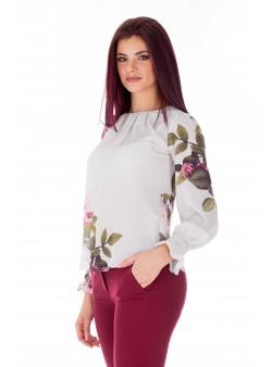 Bluza cu print gri si imprimeu floral