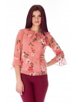 Bluza roz cu print floral