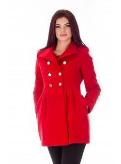 Palton rosu casual cu doua randuri de nasturi