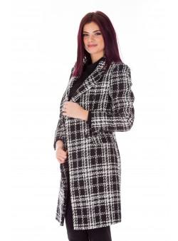 Palton negru print casual