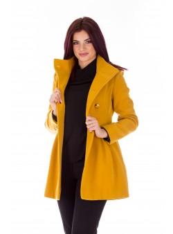 Palton galben mustar casual cu doua randuri de nasturi