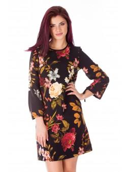 Rochie scurta neagra cu print floral