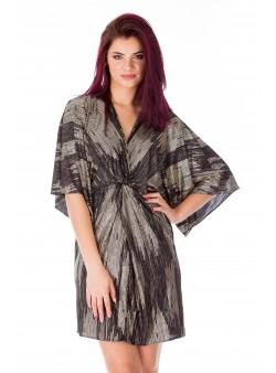 Rochie negru print scurta stil kimono