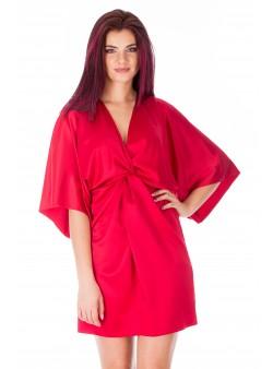 Rochie rosie scurta stil kimono