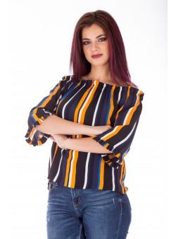 Bluza off shoulder cu dungi colorate