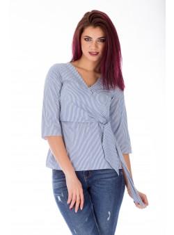 Bluza bleumarin cu dungi din bumbac