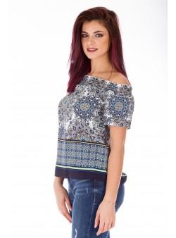 Bluza scurta off shoulder cu print oriental