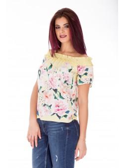 Bluza scurta off shoulder cu print floral