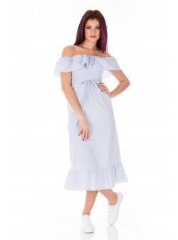 Rochie alba cu dungi bleumarin stil hispanic