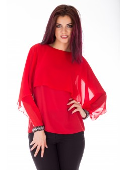 Bluza rosie eleganta cu accesorii metalice