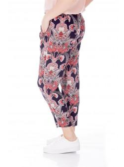 Pantaloni conici cu print oriental