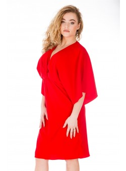 Rochie roșie eleganta stil kimono
