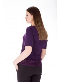 Bluza violet cu dantela brodata