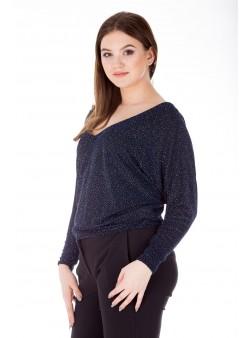 Bluza bleumarin eleganta cu sclipici