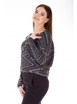 Bluza neagra eleganta cu sclipici cu print zig-zag