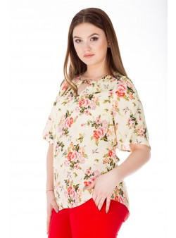 Bluza de zi cu print floral multicolor
