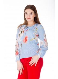 Bluza lunga cu print floral multicolor