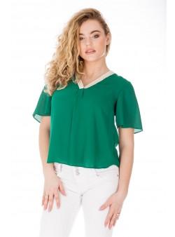 Bluza verde scurta cu decolteu in V