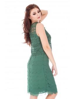 Rochie verde cu broderie