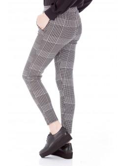 Pantaloni cu imprimeu pepit