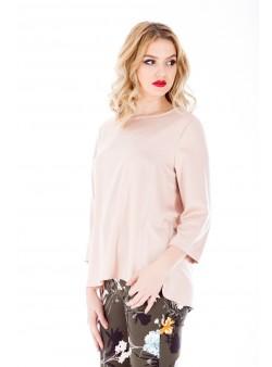 Bluza roz pudrat cu maneca trei sferturi
