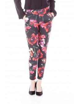 Pantalon conic cu imprimeu floral