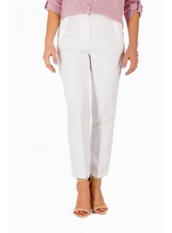 Pantaloni albi cu buzunare verticale