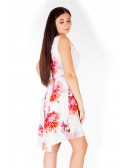 Rochie asimatrica cu model floral