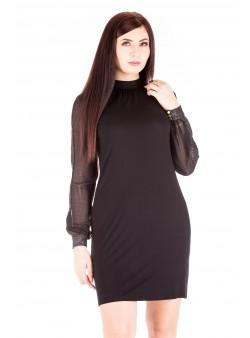 Rochie neagra cu maneca transparenta